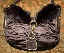 bac476b7f3de Coach Satin quilted brown Fur ski bag purse hobo beauty!