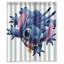 Cute Lilo and Stitch Ohana Custom Waterproof Shower Curtain 60'' x 72''