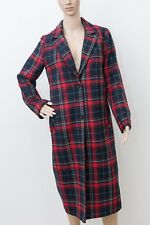 Primark Women's Red Navy Check Winter Duster Coat Size 10 UK