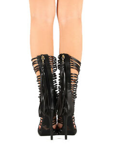 Bumper Sanford-04 New Women PU Mid Calf Caged Open Toe Heel Sandal Boot