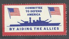 US poster cinderella label Committee to Defend America WWII battleship military