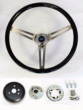 "Bronco F100 F150 F250 F350 Black Wood Steering Wheel High Gloss 15"" Ford Cap"