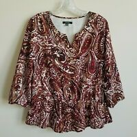 Rafaella Blouse Top Ruffle 3/4 Sleeves Paisley Wine Ivory Beige Women's Medium M