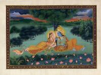 Indian Miniature Painting Of Radha Krishna Handmade Religious Home Decor Art