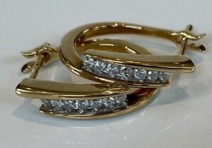 BEAUTIFUL 9ct Gold DIAMOND Creole Type Hoop Earrings yellow Gold  3.7GRMS 18MM