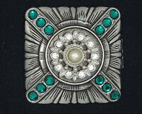 """VINTAGE RUNWAY JEWELED FAUX EMERALDS PIN BROOCH ~ 2"""""""