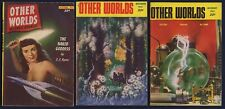 3 Issues OTHER WORLDS, Science Fiction Pulp Magazine—Oct, Nov + Dec 1952, FINE