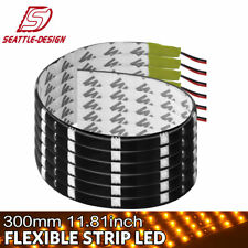 6X Yellow Waterproof 30CM 5050 LED Strip Light for Motorcycle Truck Boat Car 12V