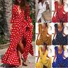 Fashion Women Polka Dots Slit Ladies Maxi Long Summer Party Beach Cocktail Dress