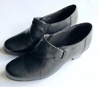 Clarks Bendables Shoes Womens 8.5M Black Slip On Heel