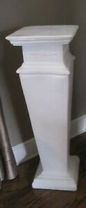 """Beautiful Estate White Plaster Pedestal, Two Available, 35"""" Tall"""