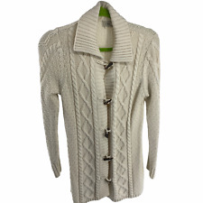 LL Bean Women S/M Sweater Cardigan Fisherman Cable Knit Ivory Toggle Button