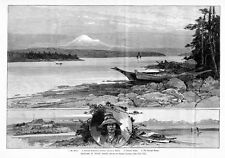 PUGET SOUND CHINOOK INDIAN SETTLEMENT VICTORIA VANCOUVER ISLAND OLYMPIC RANGE