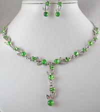 Tono Plata Verde Lima De Cristal Collar Y Aretes