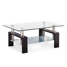 Glass Rectangular Coffee Table Black Wood Shelf Chrome Living Room Furniture