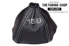 "For Alfa Romeo 159 05-11 Gear Gaiter Black Leather ""159"" White Embroidery"