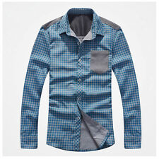 6165 New Mens Fashion Luxury Checks Casual Stylish Dress Shirts Blue US XS