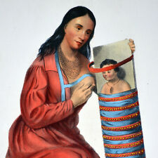 CHIPPEWAY SQUAW & CHILD  - ORIGINAL MCKENNEY & HALL HAND-COLORED 1855 LITHO