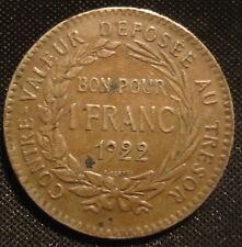 Scarse coloniale francese Martinica 1922 1 FRANCO Nizza collectible Grade KM # 41