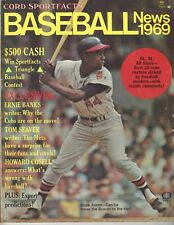 1969 Baseball News magazine, Hank Aaron, Atlanta Braves Ernie Banks Chicago Cubs