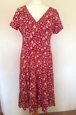 Anokhi for East robe en coton rouge Taille 14 Midi Floral Mariage été Ligne Empire