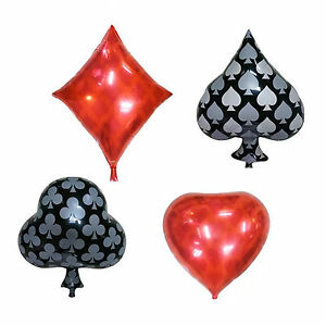 "22"" Playing Cards Design Foil Balloon Party Casino Poker Birthday Decor 4 Shape"