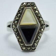 T20C01 Vintage Art Deco Sty Marcasite Onyx Mother of Pearl Sterling Ring Sz 5.75