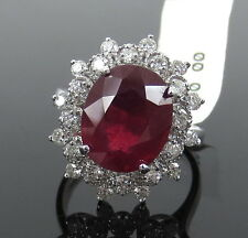 Unique 4.50ct Ruby & 1.75ct Diamond 14K White Gold Double Halo Ring