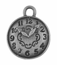 10 x Tibetan Silver Watch Clock Pendant Charms Alice In Wonderland 15mm