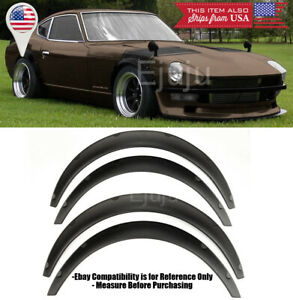 "1.75"" Front 2.75"" Rear ABS Black Flexible 4 Pcs Wide Fender Flares For Nissan"