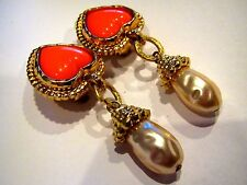 EDOUARD RAMBAUD Orange Heart GRIPOIX GLASS ETRUSCAN Faux Pearl Dangle EARRINGS