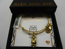 Alex and Ani Owl Ii Bangle Bracelet Rafaelian Gold Nwtbc