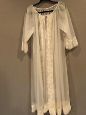 Vintage Miss Elaine White Chiffon Lace Peignoir Robe Fits Small / Medium