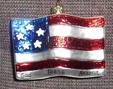 NEW! Blown Glass USA Flag Christmas Ornament By St. Nicholas Square NWT