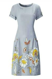 LADIES JOE BROWN FABULOUS GREY FLORAL SHORT SLEEVE DRESS TUNIC SIZ 8-18 RRP: £52