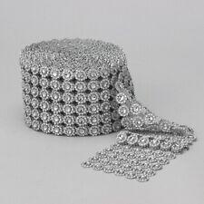 Diamond Flower Shape Mesh Wrap Roll Crystal Rhinestone Sparkle Ribbon-SILVER