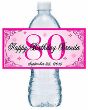 20 ~ 80th BIRTHDAY PARTY WATER BOTTLE LABELS ~ glossy ~ waterproof ink