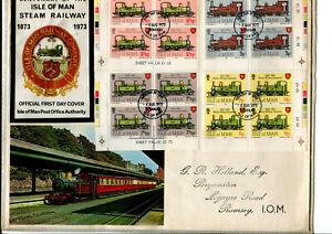 Isle of Man 1973 Railway Cylinder Block FDC, cancelled Douglas