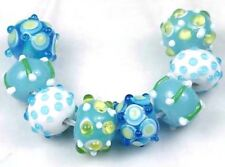 "Lampwork Handmade Glass Beads ""Blue Bayou"" Round / Rondelle (8)"