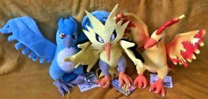 Pokemon Plush Teddy Collection -Choice of Articuno, Zapdos, Moltres or Set - NEW