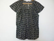 """JANE LAMERTON"" BLACK & WHITE BUTTON DOWN PATTERNED SHIRT - SIZE 12"
