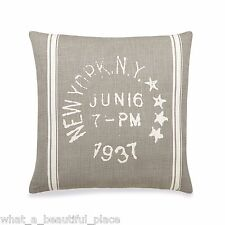 B. Smith Classic Stripe Square Decorative Pillow Beige Postcard New York Stamp