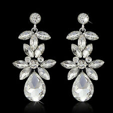 Wedding Prom Silver Diamante Crystal Flower Teardrop Bridal Long Dangle Earrings
