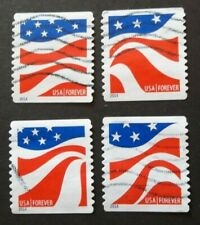 US USED 2014 FLAG COILS 4 VAL SET FOREVER OFF PAPER ALL GUM REMOVED SC 4894-4897