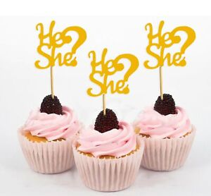 Darling Souvenir He She? Gender Reveal Baby Shower Cupcake Toppers-79Q