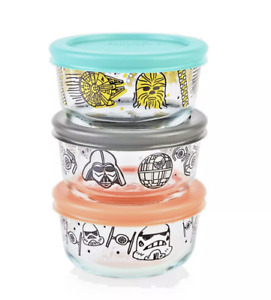 Pyrex Star Wars 6-pc Set 1 Cup Glass Food Storage Vader Chewbacca  Storm Trooper