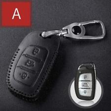 For HYUNDAI 3 Buttons Smart  Car Key case Bag Leather cover Remote type A Black