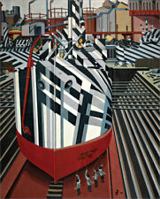 Dazzle-Ships in Drydock at...  by Edward Wadsworth   Giclee Canvas Print Repro