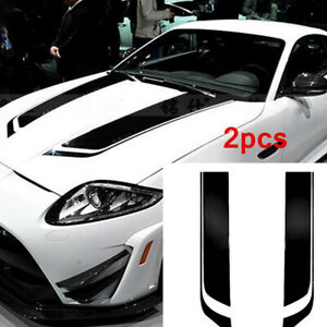 2pc Stripe Graphics Stickers Hood Decal Racing Sports Decoration For Car SUV
