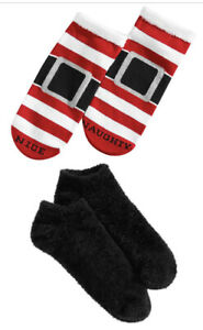 F131 Hue 2-Pk. Holiday Santa Outfit Women's Footsie Socks Gift Box